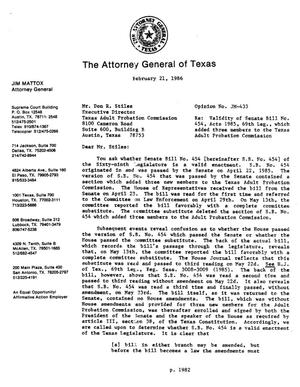 Primary view of object titled 'Texas Attorney General Opinion: JM-433'.
