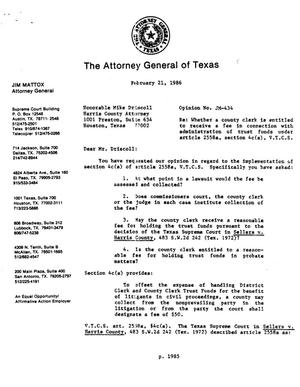 Primary view of object titled 'Texas Attorney General Opinion: JM-434'.