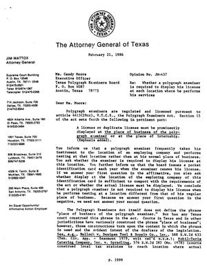 Primary view of object titled 'Texas Attorney General Opinion: JM-437'.
