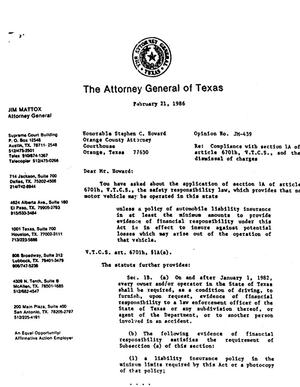 Primary view of object titled 'Texas Attorney General Opinion: JM-439'.
