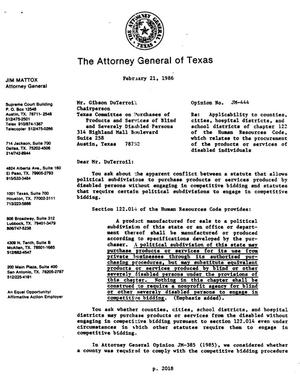 Primary view of object titled 'Texas Attorney General Opinion: JM-444'.