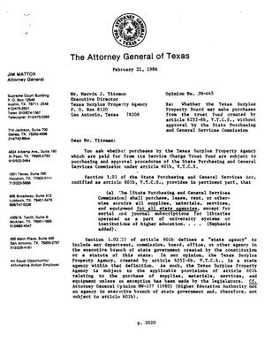 Primary view of object titled 'Texas Attorney General Opinion: JM-445'.