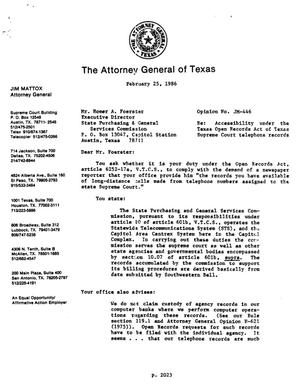 Primary view of object titled 'Texas Attorney General Opinion: JM-446'.