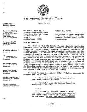 Primary view of object titled 'Texas Attorney General Opinion: JM-452'.