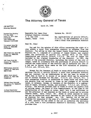 Primary view of object titled 'Texas Attorney General Opinion: JM-453'.