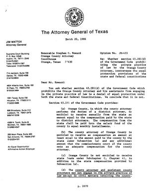 Primary view of object titled 'Texas Attorney General Opinion: JM-455'.
