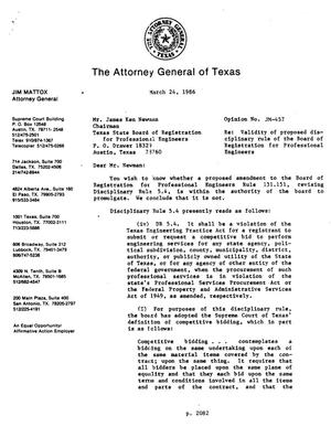 Primary view of object titled 'Texas Attorney General Opinion: JM-457'.