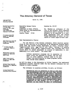 Primary view of object titled 'Texas Attorney General Opinion: JM-463'.