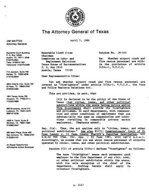 Primary view of object titled 'Texas Attorney General Opinion: JM-469'.