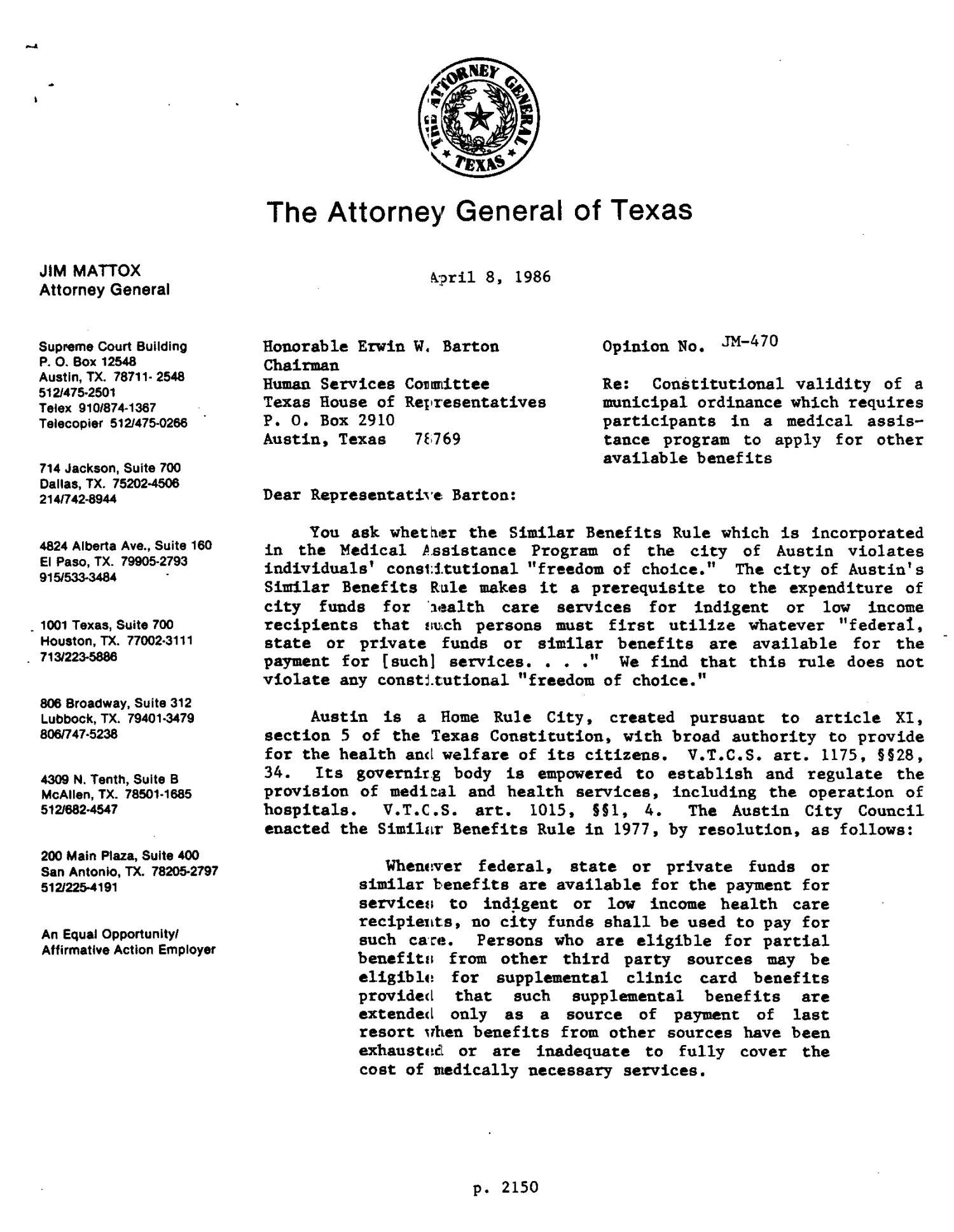 Texas Attorney General Opinion: JM-470                                                                                                      [Sequence #]: 1 of 3