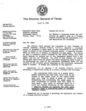 Primary view of object titled 'Texas Attorney General Opinion: JM-471'.