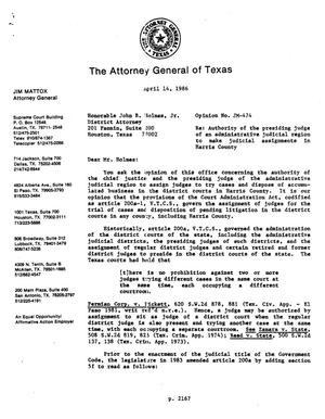Primary view of object titled 'Texas Attorney General Opinion: JM-474'.