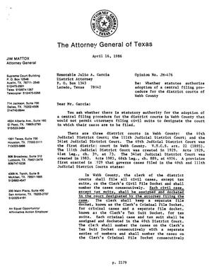 Primary view of object titled 'Texas Attorney General Opinion: JM-476'.