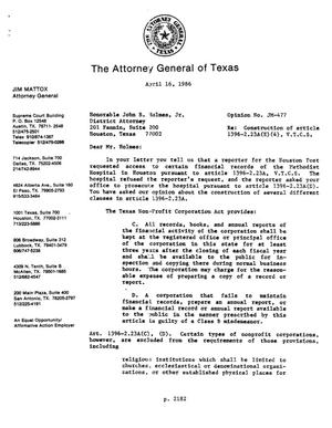 Primary view of object titled 'Texas Attorney General Opinion: JM-477'.