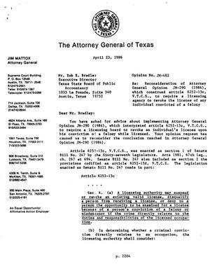 Primary view of object titled 'Texas Attorney General Opinion: JM-482'.