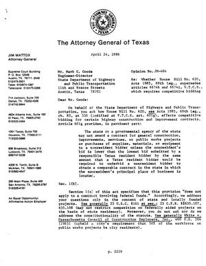 Primary view of object titled 'Texas Attorney General Opinion: JM-484'.