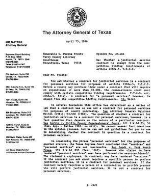 Primary view of object titled 'Texas Attorney General Opinion: JM-486'.
