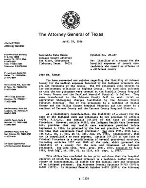 Primary view of object titled 'Texas Attorney General Opinion: JM-487'.