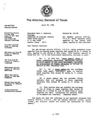 Primary view of object titled 'Texas Attorney General Opinion: JM-488'.