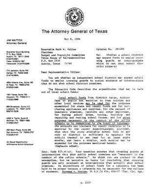 Primary view of object titled 'Texas Attorney General Opinion: JM-490'.