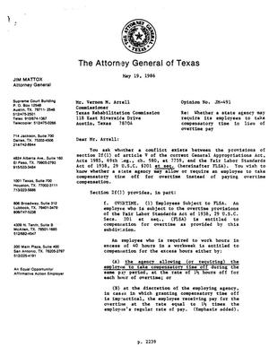 Primary view of object titled 'Texas Attorney General Opinion: JM-491'.