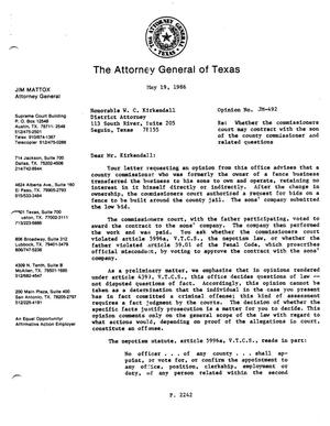 Primary view of object titled 'Texas Attorney General Opinion: JM-492'.