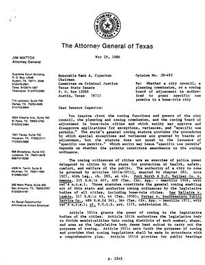 Primary view of object titled 'Texas Attorney General Opinion: JM-493'.