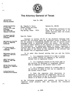 Primary view of object titled 'Texas Attorney General Opinion: JM-501'.