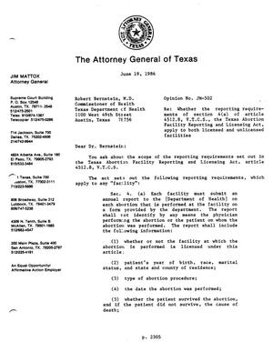 Primary view of object titled 'Texas Attorney General Opinion: JM-502'.