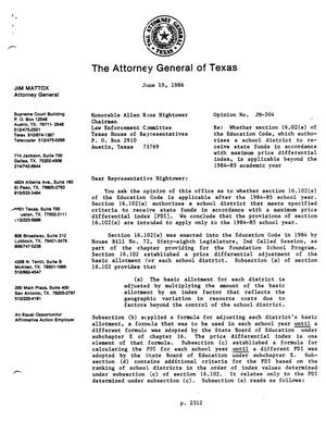 Primary view of object titled 'Texas Attorney General Opinion: JM-504'.
