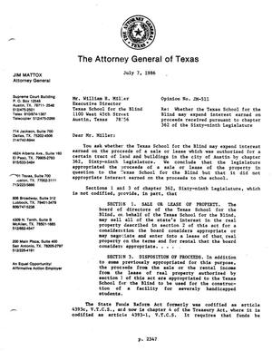 Primary view of object titled 'Texas Attorney General Opinion: JM-511'.