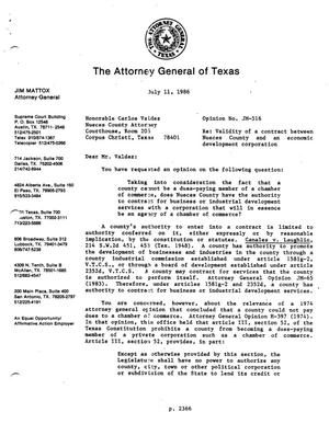 Primary view of object titled 'Texas Attorney General Opinion: JM-516'.
