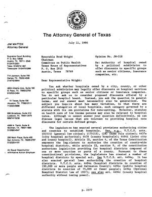 Primary view of object titled 'Texas Attorney General Opinion: JM-518'.