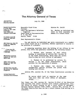 Primary view of object titled 'Texas Attorney General Opinion: JM-519'.