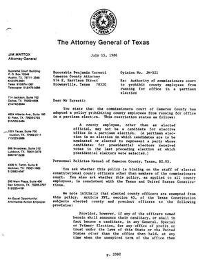 Primary view of object titled 'Texas Attorney General Opinion: JM-521'.