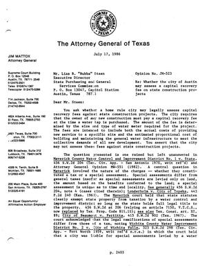 Primary view of object titled 'Texas Attorney General Opinion: JM-523'.