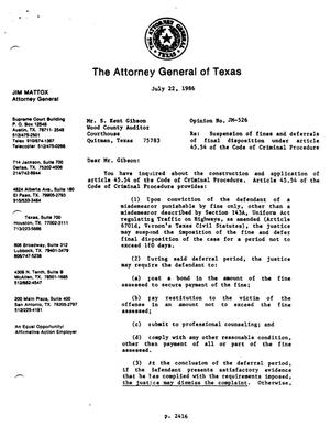 Primary view of object titled 'Texas Attorney General Opinion: JM-526'.