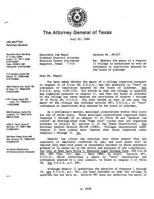 Primary view of object titled 'Texas Attorney General Opinion: JM-527'.