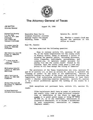 Primary view of object titled 'Texas Attorney General Opinion: JM-533'.