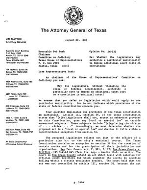 Primary view of object titled 'Texas Attorney General Opinion: JM-535'.