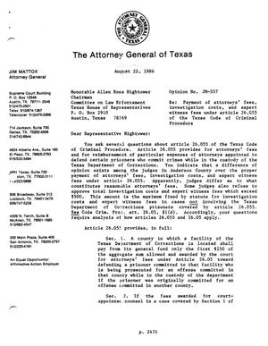 Primary view of object titled 'Texas Attorney General Opinion: JM-537'.