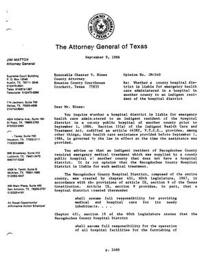 Primary view of object titled 'Texas Attorney General Opinion: JM-540'.