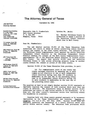 Primary view of object titled 'Texas Attorney General Opinion: JM-541'.