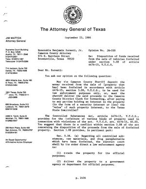Primary view of object titled 'Texas Attorney General Opinion: JM-550'.