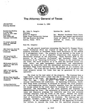 Primary view of object titled 'Texas Attorney General Opinion: JM-551'.