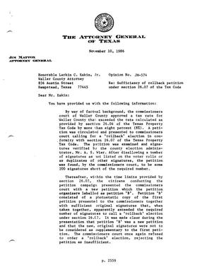 Primary view of object titled 'Texas Attorney General Opinion: JM-574'.