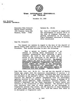 Primary view of object titled 'Texas Attorney General Opinion: JM-601'.