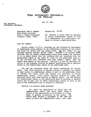 Primary view of object titled 'Texas Attorney General Opinion: JM-699'.