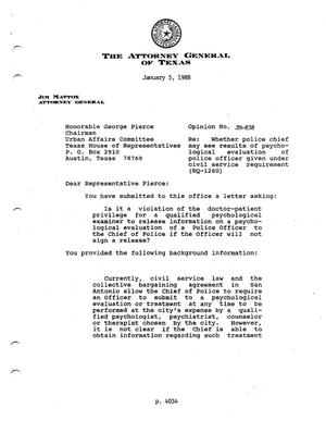 Primary view of object titled 'Texas Attorney General Opinion: JM-838'.