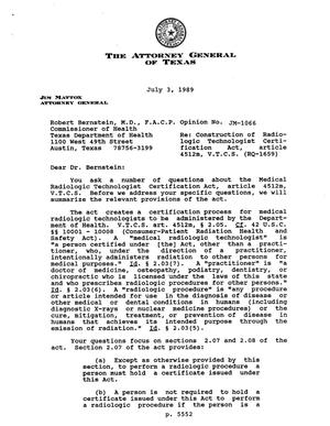 Primary view of object titled 'Texas Attorney General Opinion: JM-1066'.